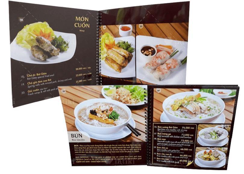 In menu dựa trên chất liệu khách hàng lựa chọn