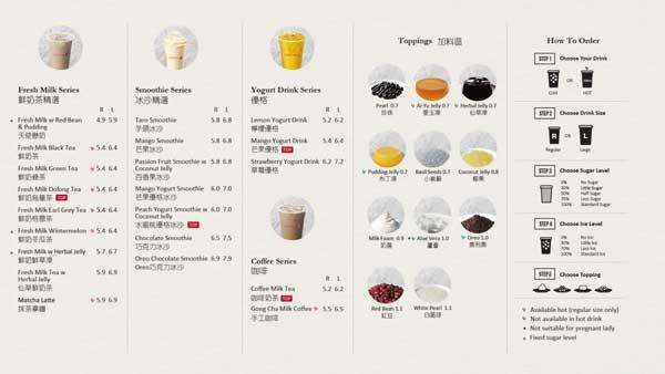 Menu quán trà sữa Gongcha