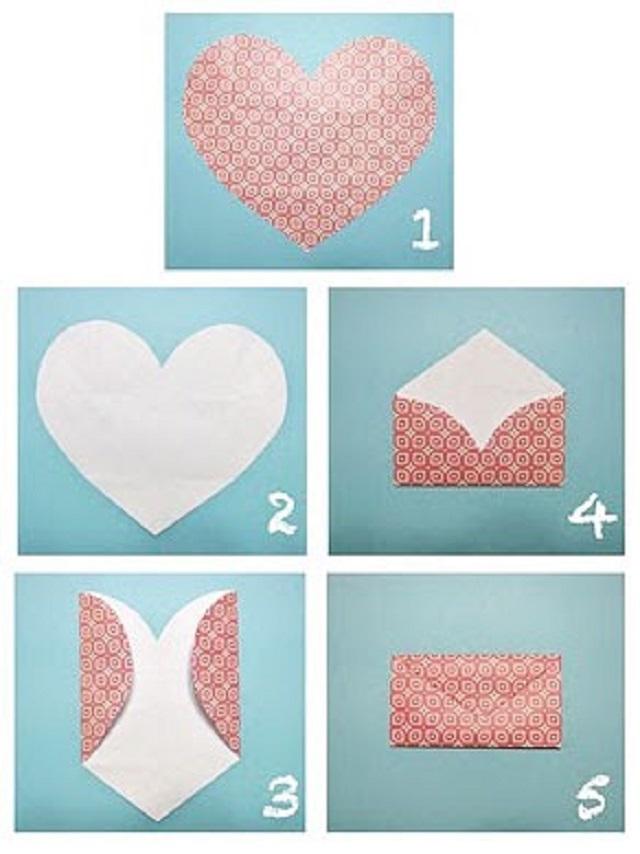 Cách gấp phong bì từ giấy A4 hình trái tim