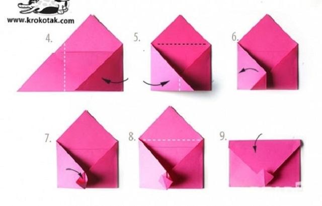 Cách gấp phong bì từ giấy A4 hình nghộ nghĩnh 3