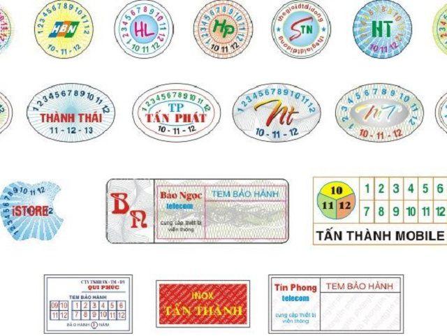 Kích thước tem bảo hành sẽ khác nhau tùy vào sản phẩm và yêu cầu của khách hàng
